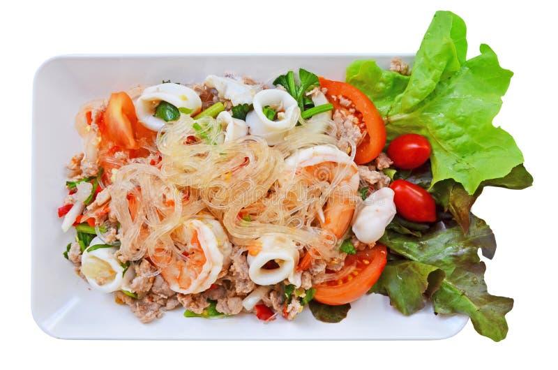 Ensalada de cristal picante de los tallarines con el plato del camarón foto de archivo