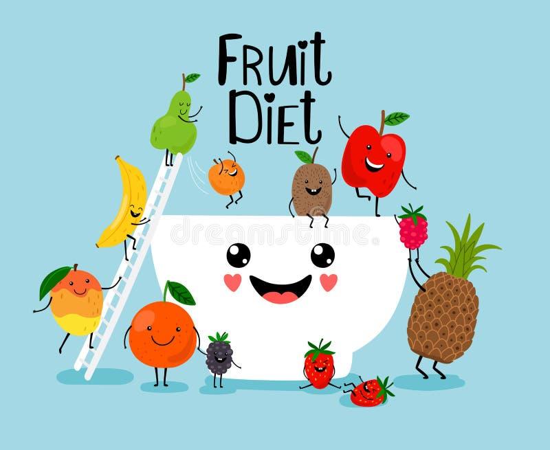 Ensalada de fruta con el cuenco blanco ilustración del vector