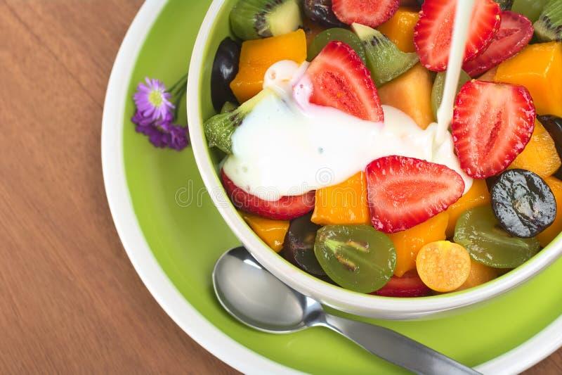 Ensalada de fruta con el yogur imagen de archivo libre de regalías