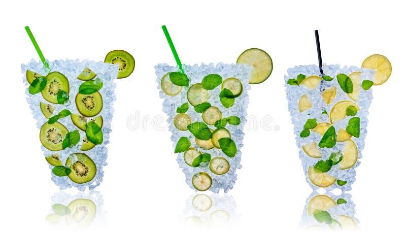 Ensalada de fruta con los cubos de hielo en el fondo blanco stock de ilustración