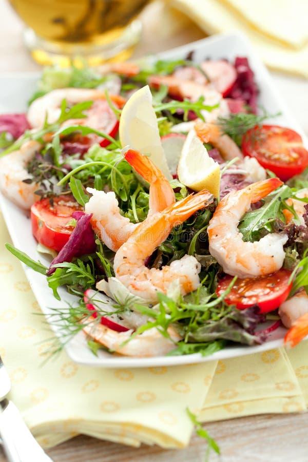 Ensalada de la gamba Ensalada simple y sana del camarón, de los verdes mezclados y de los tomates fotografía de archivo