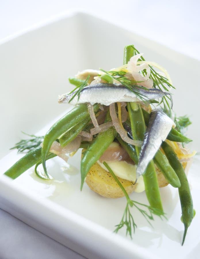 Ensalada de la sardina y de la haba verde imagen de archivo