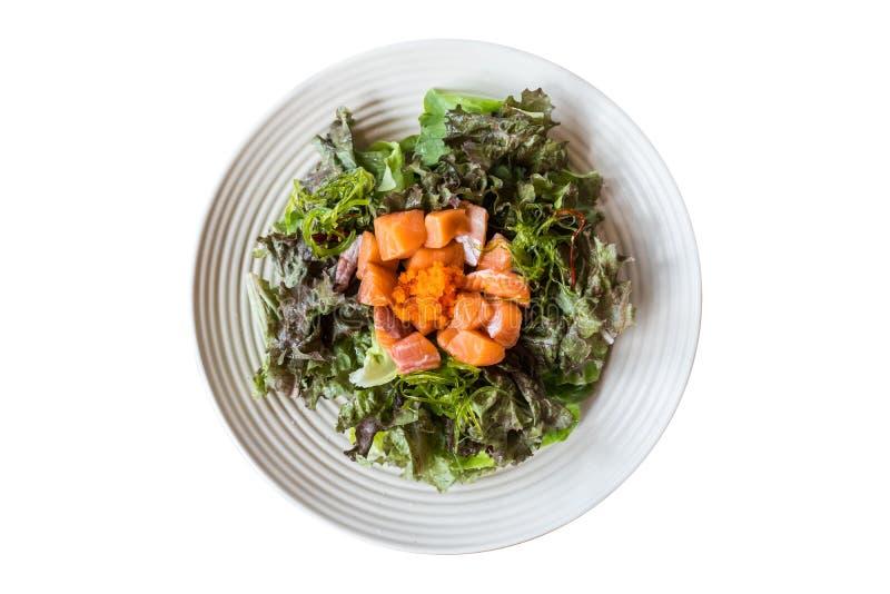 Ensalada de la verdura de hoja con estilo japonés de la comida del salmón ahumado fotos de archivo libres de regalías