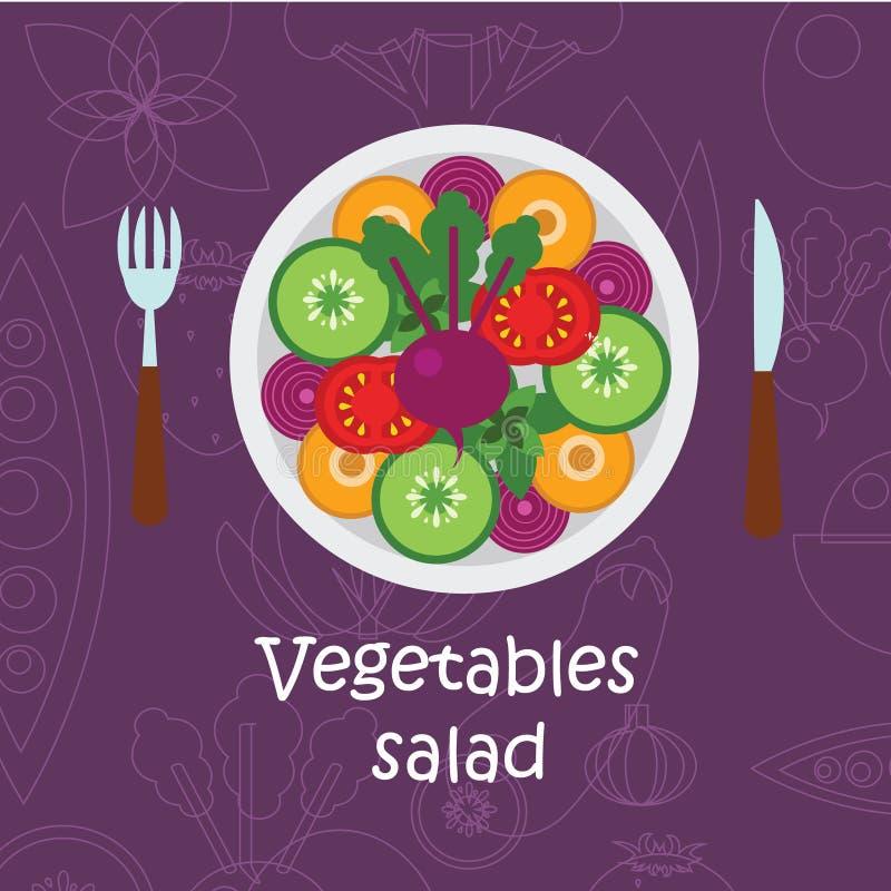 Ensalada de las verduras frescas con aceite de oliva en el fondo violeta ilustración del vector