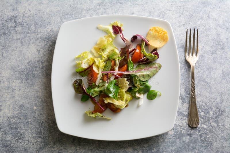 Ensalada de las verduras frescas con queso curruscante del brie fotografía de archivo libre de regalías