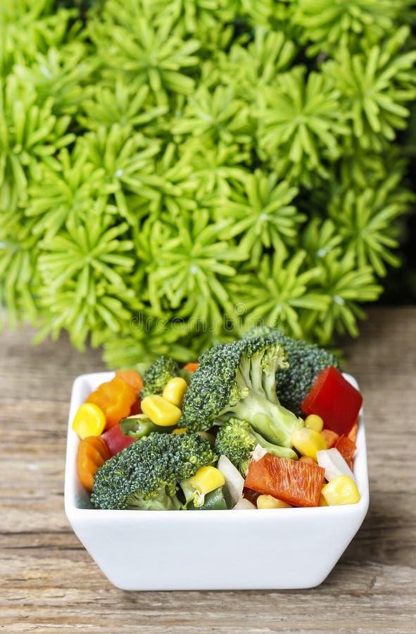 Ensalada de las verduras frescas en el cuenco blanco imagen de archivo