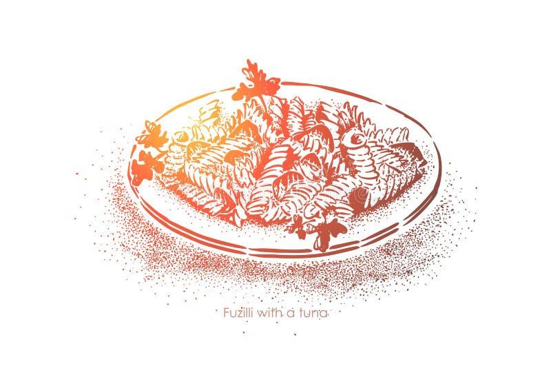 Ensalada de pasta de Fusilli con el atún y el perejil, tallarines italianos nacionales con los mariscos, cocina tradicional medit stock de ilustración