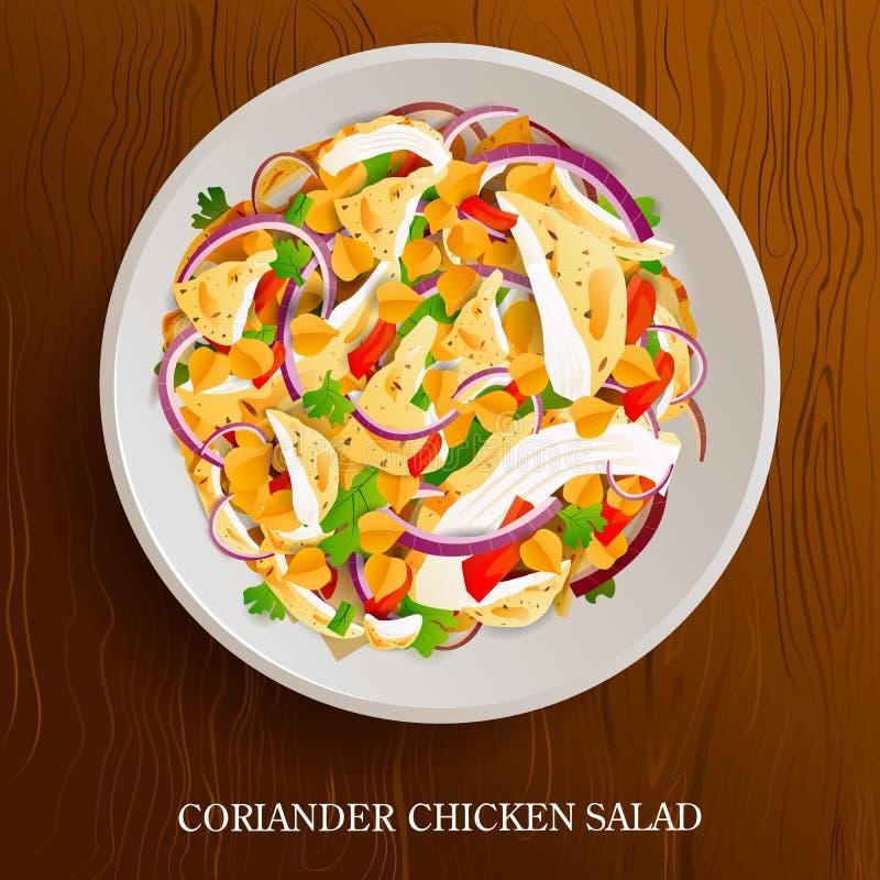 Ensalada de pollo fresca y sana del coriandro en fondo de madera libre illustration