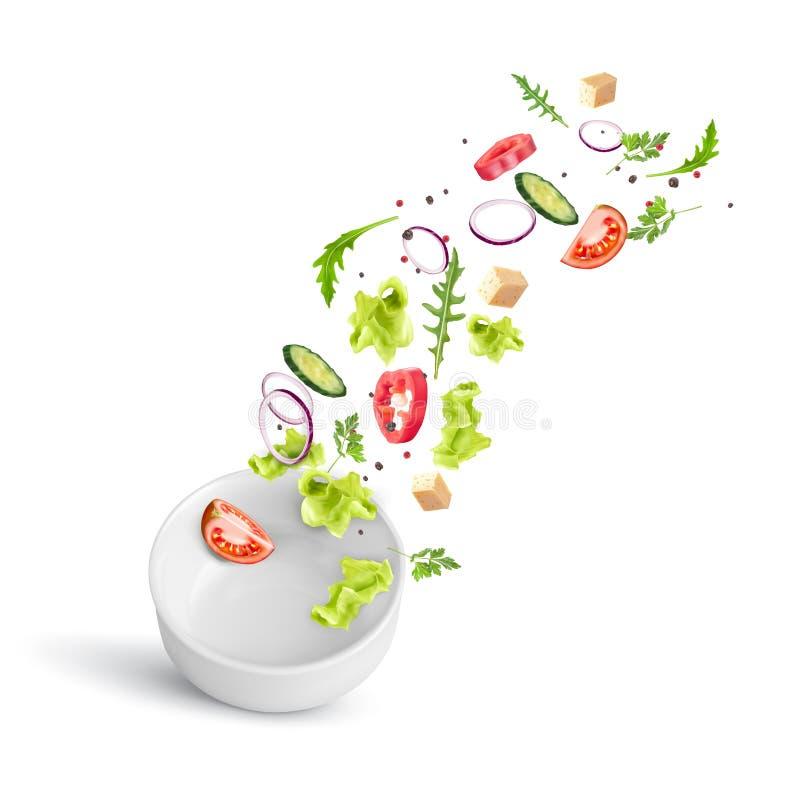 Ensalada de verduras fresca que cae en un plato profundo de porcelana blanca fotografía de archivo