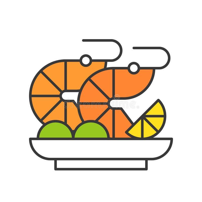 Ensalada del camarón o sistema del cóctel, de los mariscos, de la comida y de la gastronomía de la gamba ilustración del vector