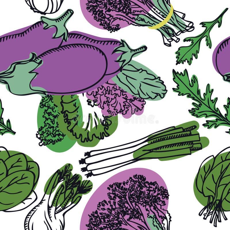 Ensalada deliciosa de la primavera de la colección de la comida con el modelo inconsútil de la berenjena ilustración del vector