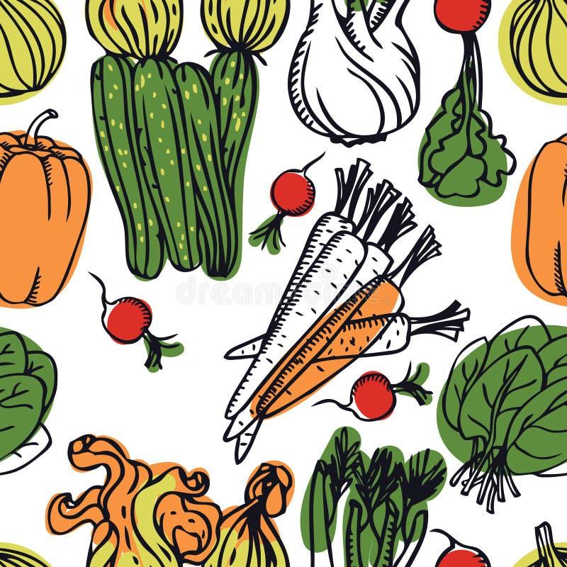 Ensalada deliciosa de la primavera de la colección de la comida con el modelo inconsútil de los calabacines y de las zanahorias libre illustration