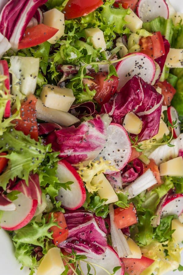 Ensalada fresca con verdes mezclados, el rábano, el queso y el tomate Italia imágenes de archivo libres de regalías