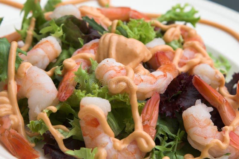 Ensalada fresca sana del camarón imagen de archivo