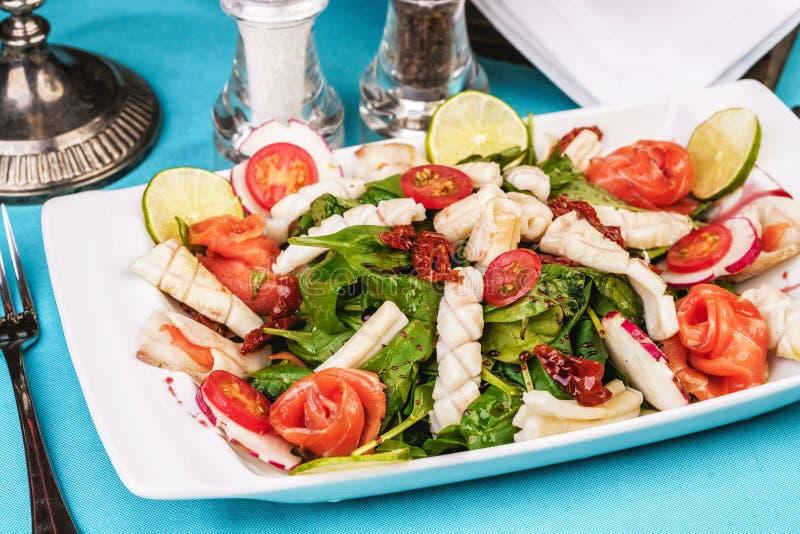 Ensalada mediterránea con el calamar, los salmones, el rábano, el arugula, los tomates de cereza y el chile asados a la parrilla  imagen de archivo