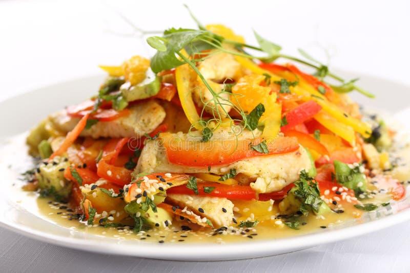 Ensalada vegetal con queso y pollo asado fotografía de archivo libre de regalías