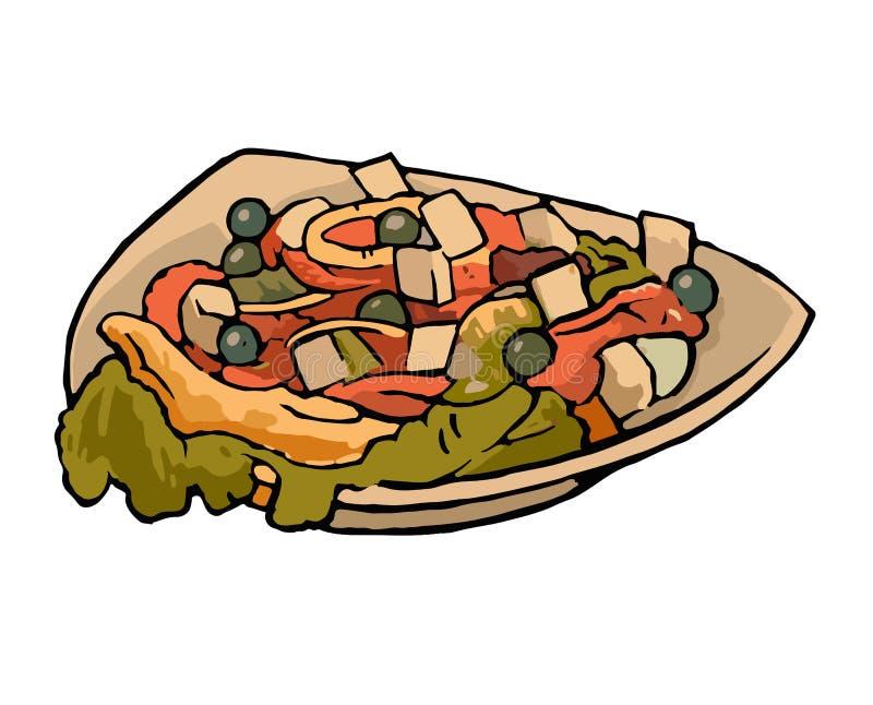 Ensalada vegetal griega con los tomates, queso feta, aceitunas negras, pimientas en la placa ilustración del vector