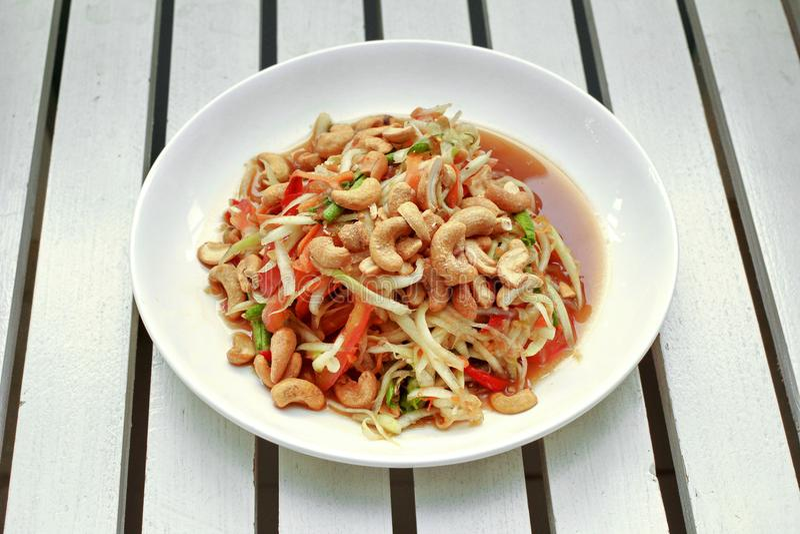 Ensalada vegetal mezclada popular tailandesa de la receta, picante y amarga con p foto de archivo libre de regalías