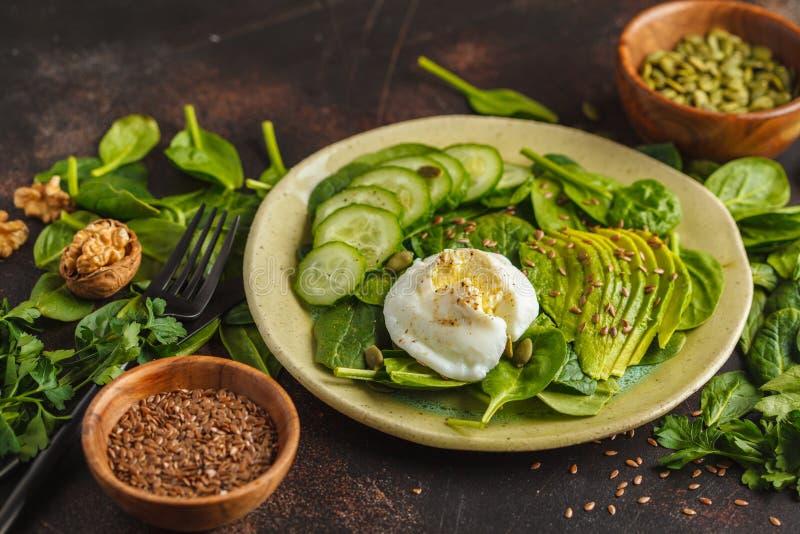 Ensalada verde con espinaca, el pepino, el aguacate, el huevo, el lino y el pumpk fotografía de archivo