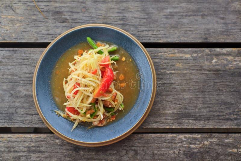 Ensalada verde tailandesa de la papaya fotos de archivo