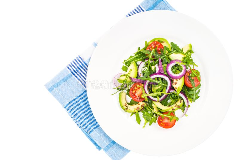 Ensaladas útiles con el aguacate y las verduras frescas El concepto de dieta sana imagen de archivo