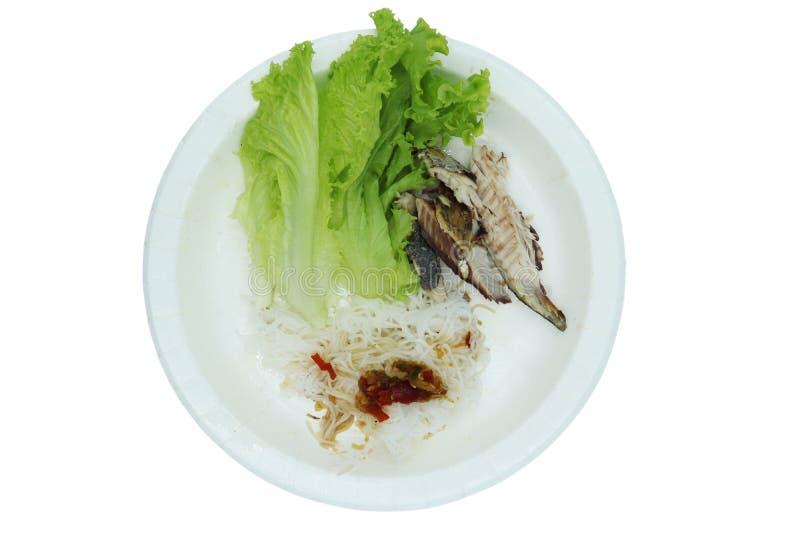 Ensaladas de la comida de la caballa del estilo tailandés septentrional en el fondo blanco foto de archivo libre de regalías