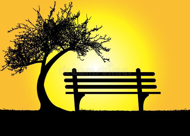 Ensam bänk under ett träd på ett berg på solnedgången vektor illustrationer