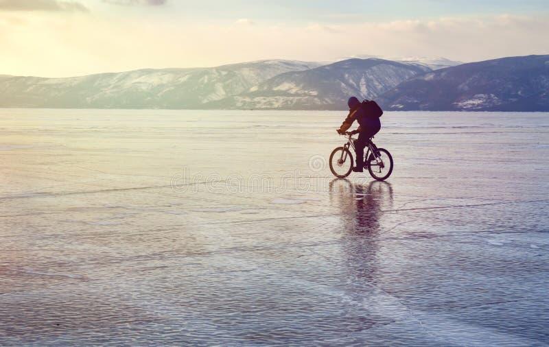 Ensam cyklist med ryggsäckar på cykeln på is av Lake Baikal Mot bakgrunden av solnedgånghimmel isyttersida Begrepp för vinterspor royaltyfri fotografi