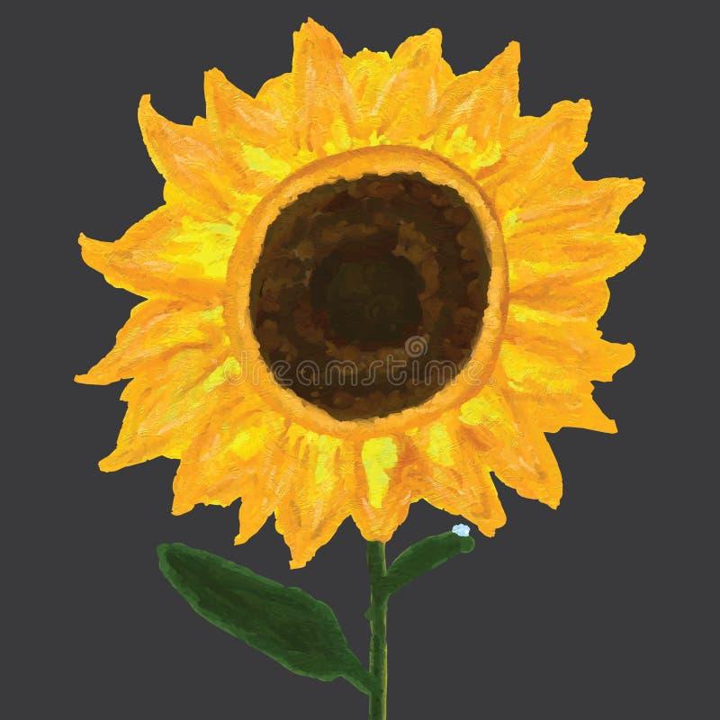 Ensam dagg för solros stock illustrationer