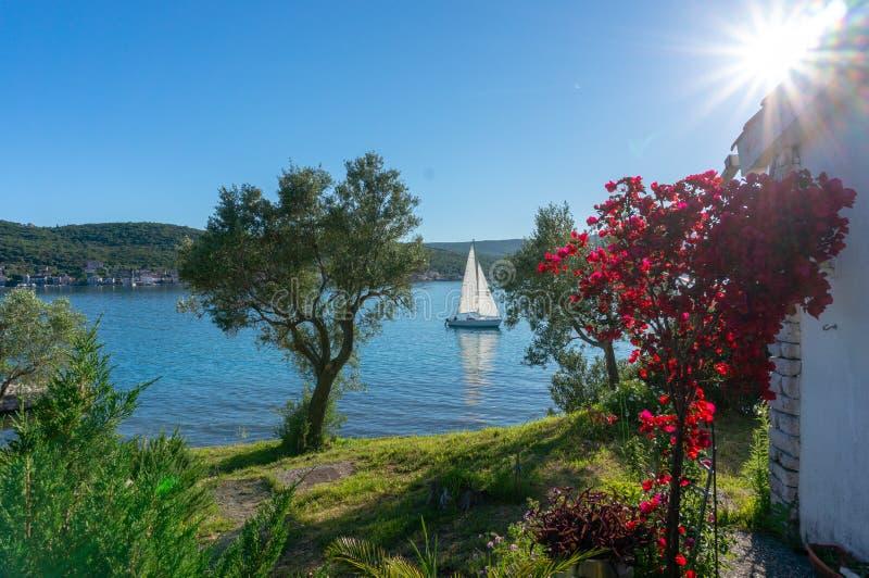 Ensam fartygsegling i fjärden av Kotor, Montenegro Sikt av det ensamma fartyget i bakgrundsbergen royaltyfri fotografi