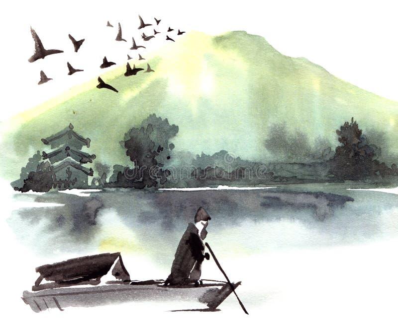 Ensam fishman i fartyget stock illustrationer