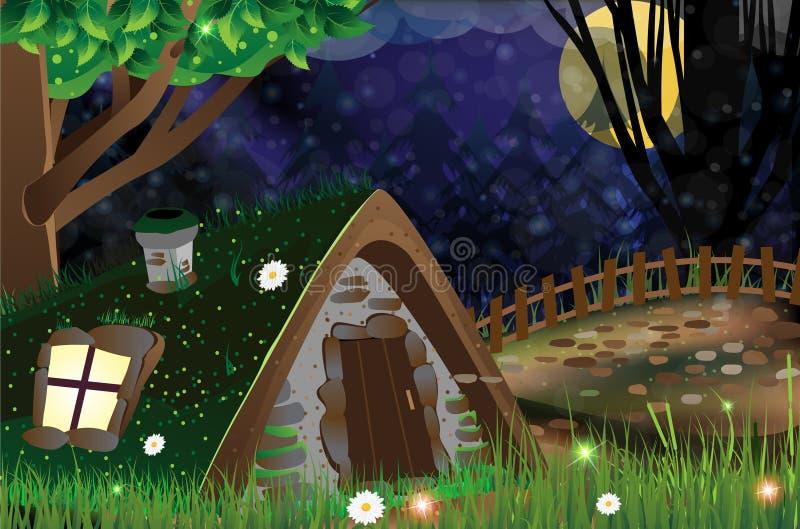 Ensam hydda i en ruskig skog stock illustrationer