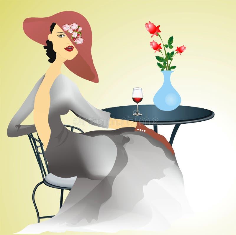 Ensam kvinna, royaltyfri illustrationer