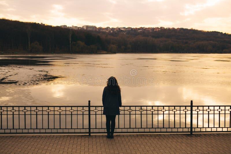 Ensam kvinna bara i vinter på solnedgången arkivfoton