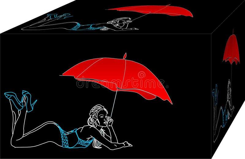Ensam kvinna med bikinin på stranden vektor illustrationer