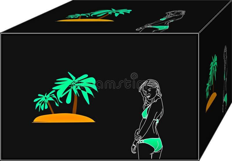 Ensam kvinna med bikinin på stranden royaltyfri illustrationer