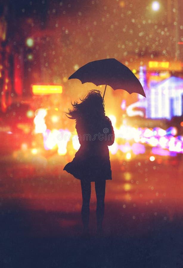 Ensam kvinna med paraplyet i nattstad vektor illustrationer