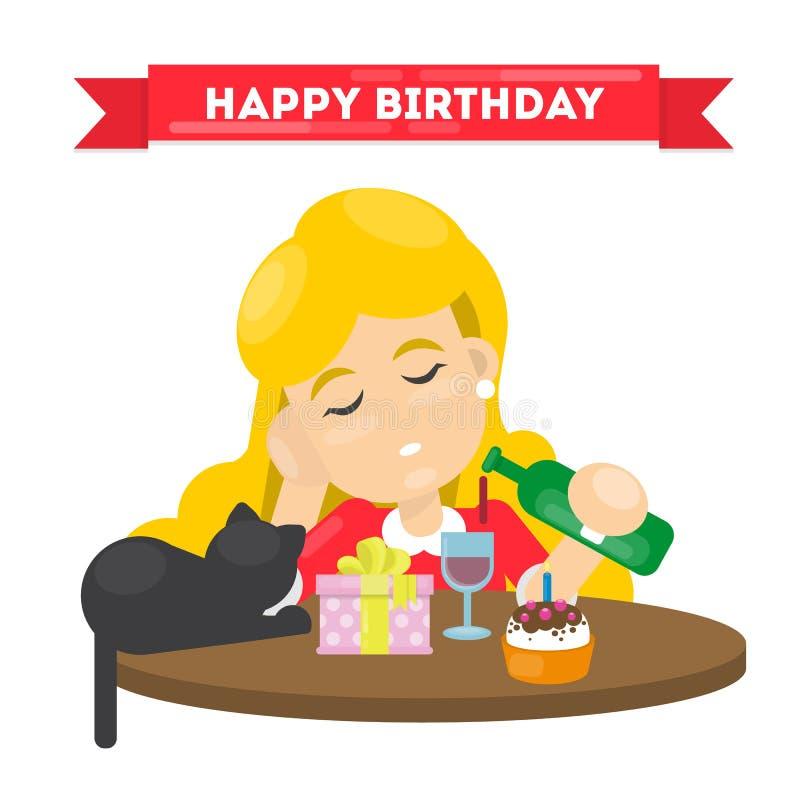 Ensam lycklig födelsedag vektor illustrationer