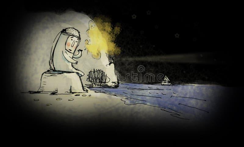 Ensam man Depressed borttappat skrika för man Dramabegrepp Öde ö royaltyfri illustrationer