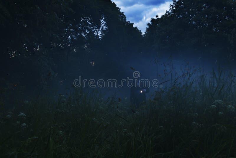 Ensam man med ficklampavandring i oklart skoglandskap Mystiskt ljus i dystert mörkt fält med mist between fotografering för bildbyråer