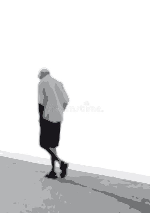 ensam manvektor stock illustrationer