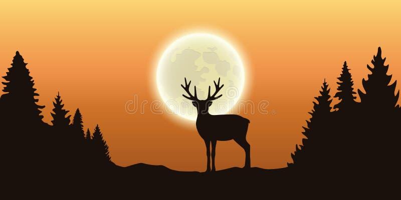 Ensam ren i skog på fullmånen och orange himmel stock illustrationer