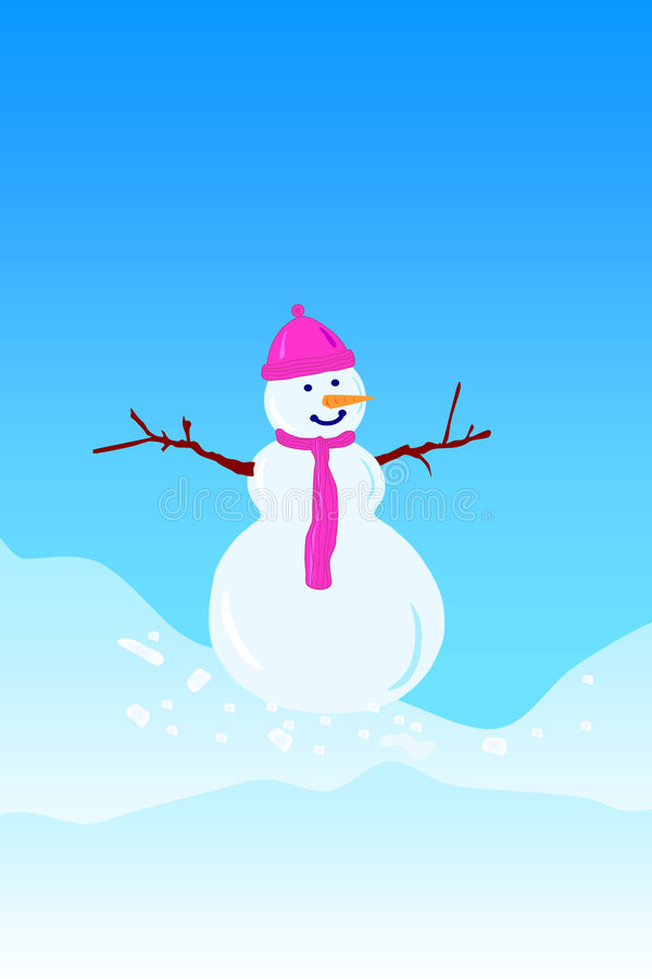 ensam snowman stock illustrationer
