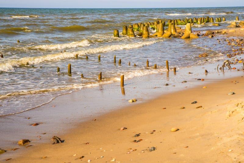 Ensam strand av Östersjön med gamla ljumsken och vågsäkerhetsbrytare fotografering för bildbyråer
