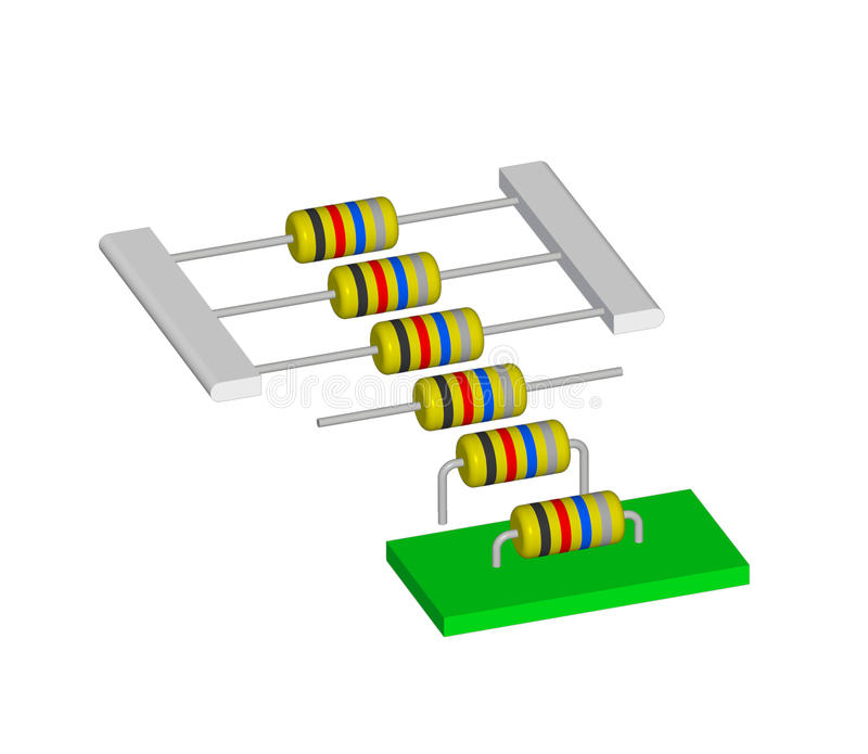 Ensamblaje del componente electrónico ilustración del vector