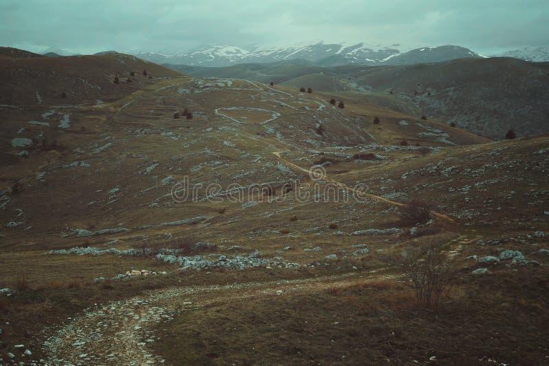 Ensamma bergslingor royaltyfria foton