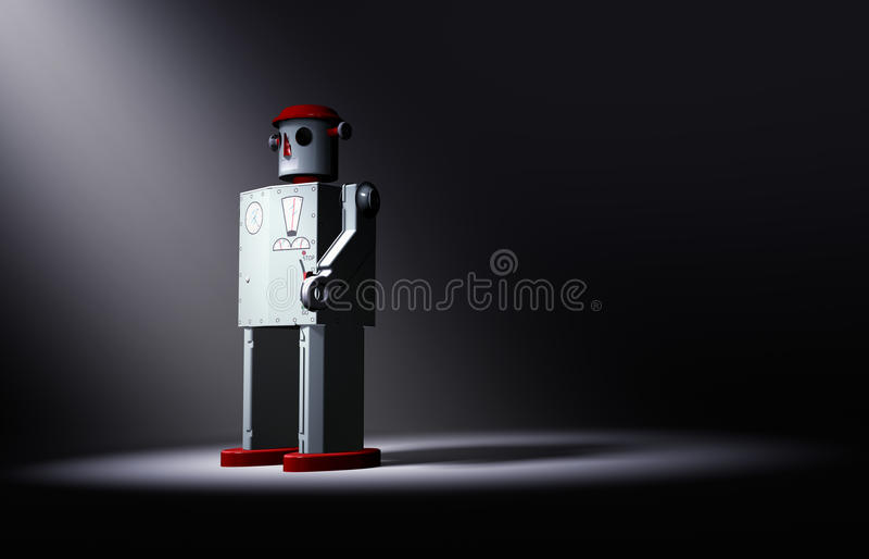 Ensamma gamla Tin Toy Robot Faces The Light stock illustrationer