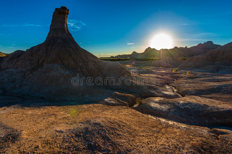 Ensamma pelarBadlands nationalpark, South Dakota arkivbilder