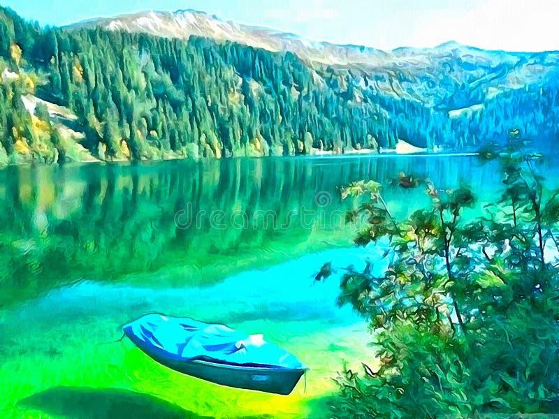 Ensamt fartyg i en tyst fjärd med kristallklart vatten av en bergsjö royaltyfri illustrationer