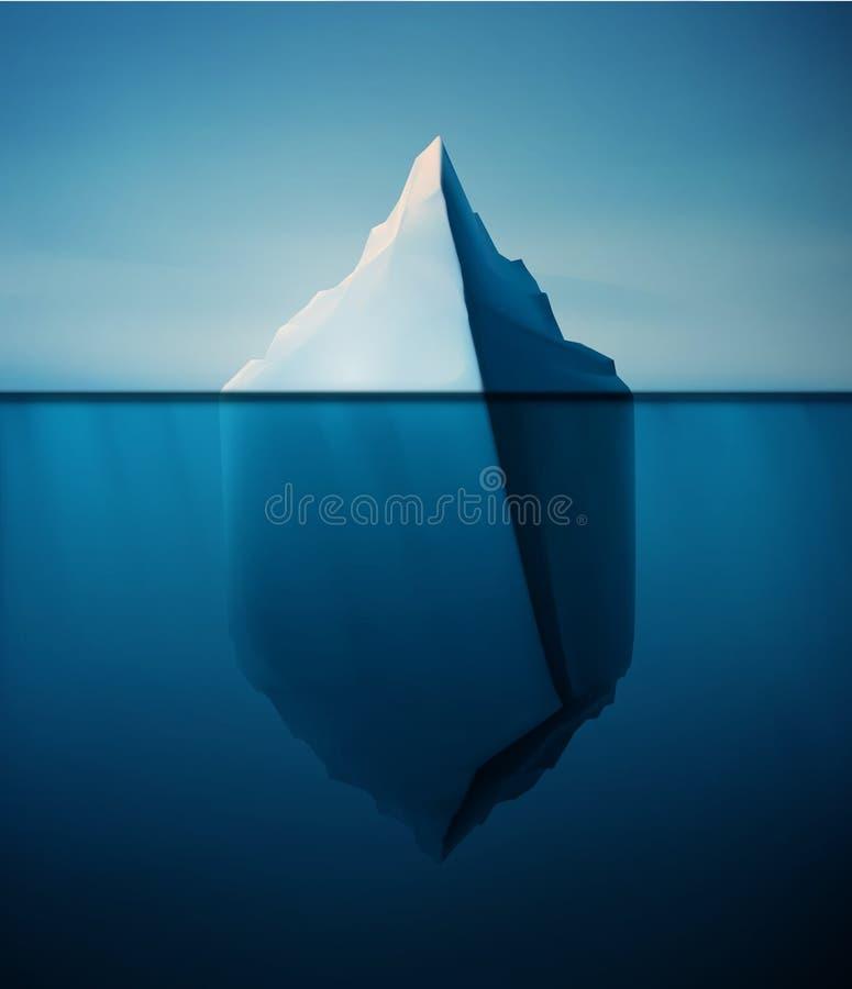 Ensamt isberg royaltyfri illustrationer